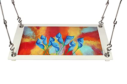 Riyo Moda Outdoor Plywood Hanging (from Ceiling) Swing Set/Jhula with Hand Painted Modern Art for Home and Garden