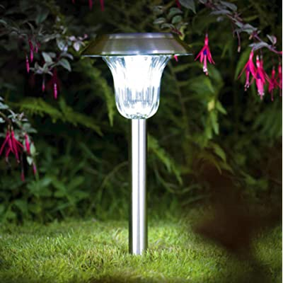 Solar Lights Outdoor Decorations 4Pack Pathway Light Set Decorative Garden Path Stake Lamp Bright White Blue 2 Color LED Yard Landscape Lighting Stainless Steel Stakes for Walkway Patio : Garden & Outdoor