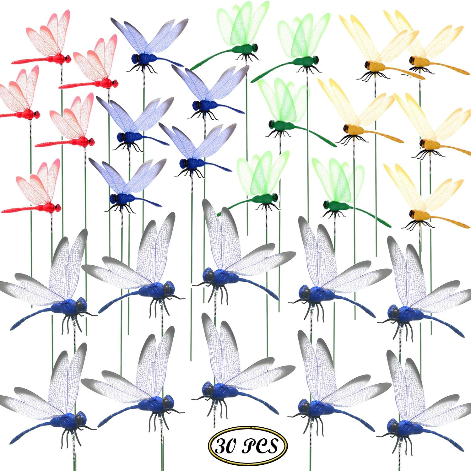 Seasonsky 30 PCS Dragonfly Garden Stakes, 2 Size Artificial Dragonfly Stakes Indoor Outdoor Yard Garden Flower Pot Decoration, Miniature Fairy Garden Decoration