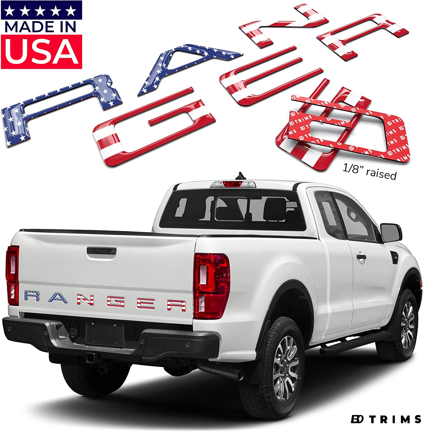 SF Sales USA Red Tailgate Letters for Ranger 2019-Up Rear Inserts Not Decals