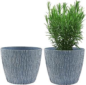 Flower Pots, KOTAO Outdoor Indoor Garden Plant Pots with Drainage Holes, 8 Inch Planters , Stone Pattern Blue, Set of 2