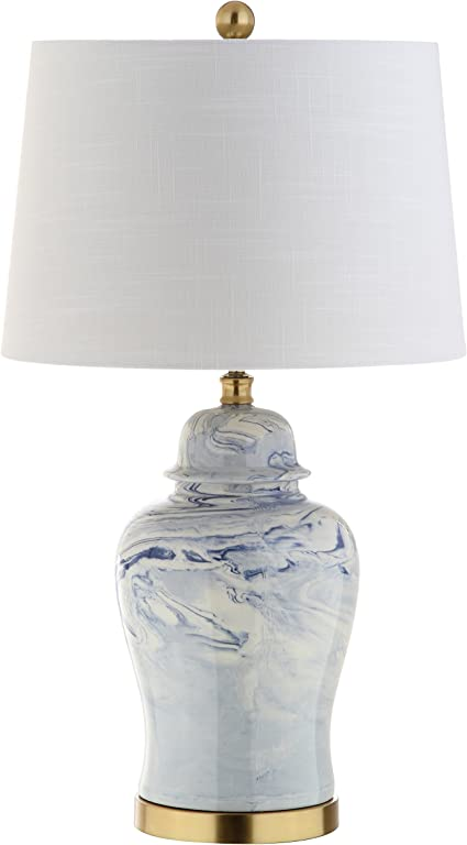 Jonathan Y Jyl3010a Wallace 26 Ceramic Led Table Lamp Traditional Transitional Cottage For Bedroom Living Room Office College Dorm Coffee Table Bookcase Blue White Amazon Com