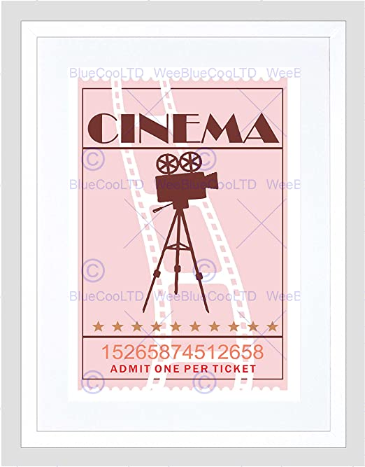 VINTAGE RETRO CINEMA MOVIE THEATRE TICKET BLACK FRAMED ART PRINT B12X14034