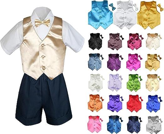 MILLTEX 4 Pieces Set Formal Party Wedding Color Satin Vest /& Bow tie Shirt Gray Shorts Set New Born Baby Boy Toddler Sm-4T