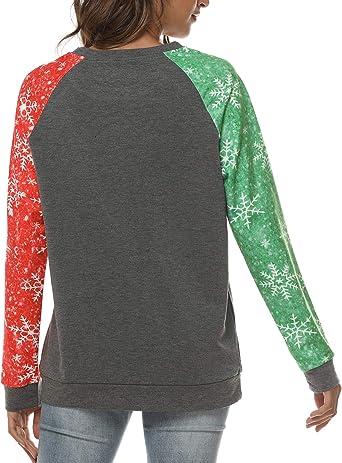 Christmas Shirts Women Believe Santa Sweatshirts Xmas Hat Pullover Snowflake Printed Raglan Long Sleeve Tee Tops