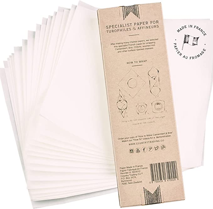 Specialist Wax Free Parchment Papers for Wrapping Ripening and Storage of Fresh Homemade and Deli Cheeses 16 Breathable Square Sheets 9 /¹/⁄3 Cheese Paper Wrap 24 cm Plus Decorative Gift Labels