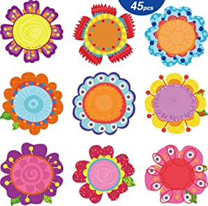 45 Pieces Flowers Cut-Outs Springtime Blooms Cutouts Versatile Colorful Flowers Classroom Decoration Cutouts with Glue Point Dots for Bulletin Board School Spring Summer Theme Party, 5.9 x 5.9 Inch