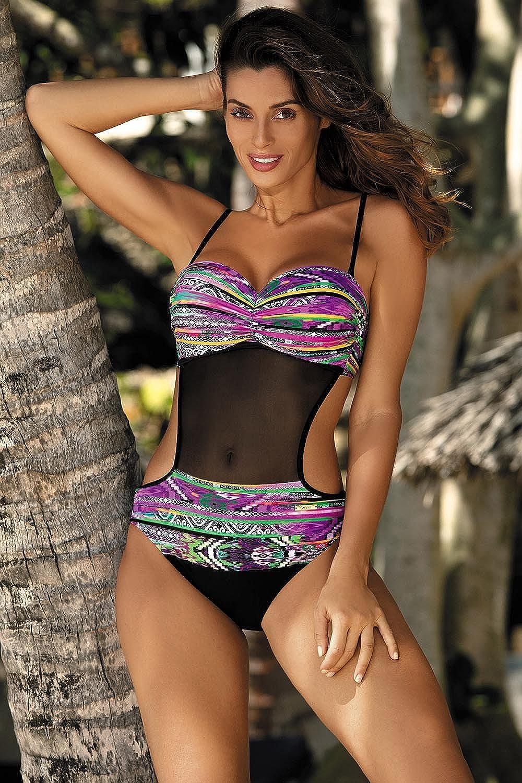 Marko Melania M-426 Womens One-Piece Swimsuit Monokini Removable Straps Pattern