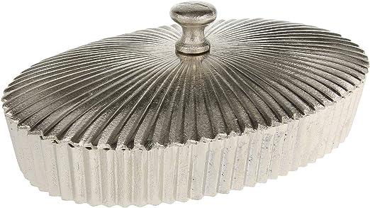 MACOSA LC195651 Caja de Almacenamiento Ovalada de Metal Plateado, Tapa, para Joyas, de Metal: Amazon.es: Hogar