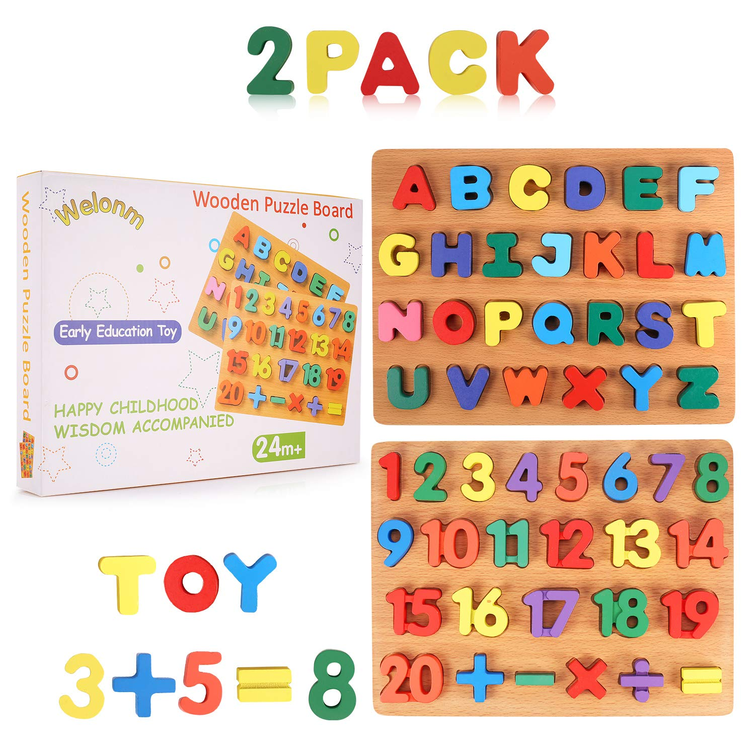 Wooden Peg Puzzles Kid Toys Set - Big Alphabet & Numbers ABC Toddlers Puzzles Board 2-Pack for Boys Girls' Preschool Educational Kindergarten Learning Toy