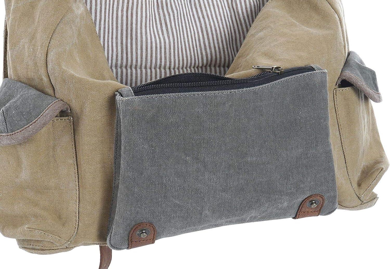 Item BESACE SAC bandouli/ère neuf en TOILE jean BRUN KAKI GRIS /& cuir cadeau HOMME 38x30cm