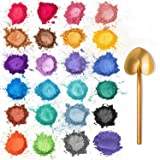 Mica Powder - Epoxy Resin Pigment - 24 Colors Powder Pigment for Soap Making, Candles, Slime, Paint, Resin Crafts
