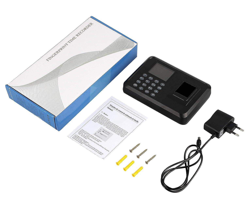 """Mediante Memoria USB Control de Acceso para empleados Mediante Huella Dactilar y contrase/ña Idioma espa/ñol sin Necesidad de Red Pantalla LCD 2,4/"""" TFT Registro de Tiempo"""