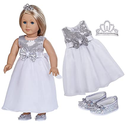 159a8533d98f Amazon.com  18 Inch Doll Clothes (Silver Sequins Evening Dress with ...
