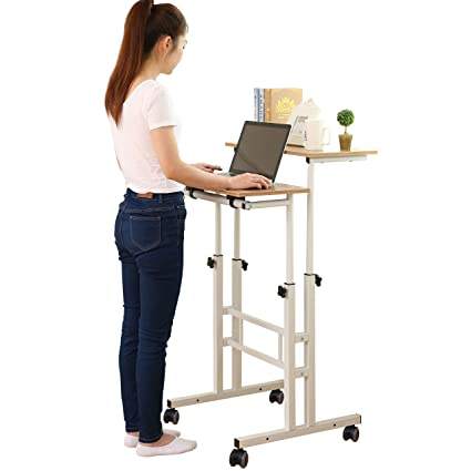 SDADI 2 Inches Carpet Wheel Mobile Stand Up Desk Height Adjustable Home Office  Desk With Standing