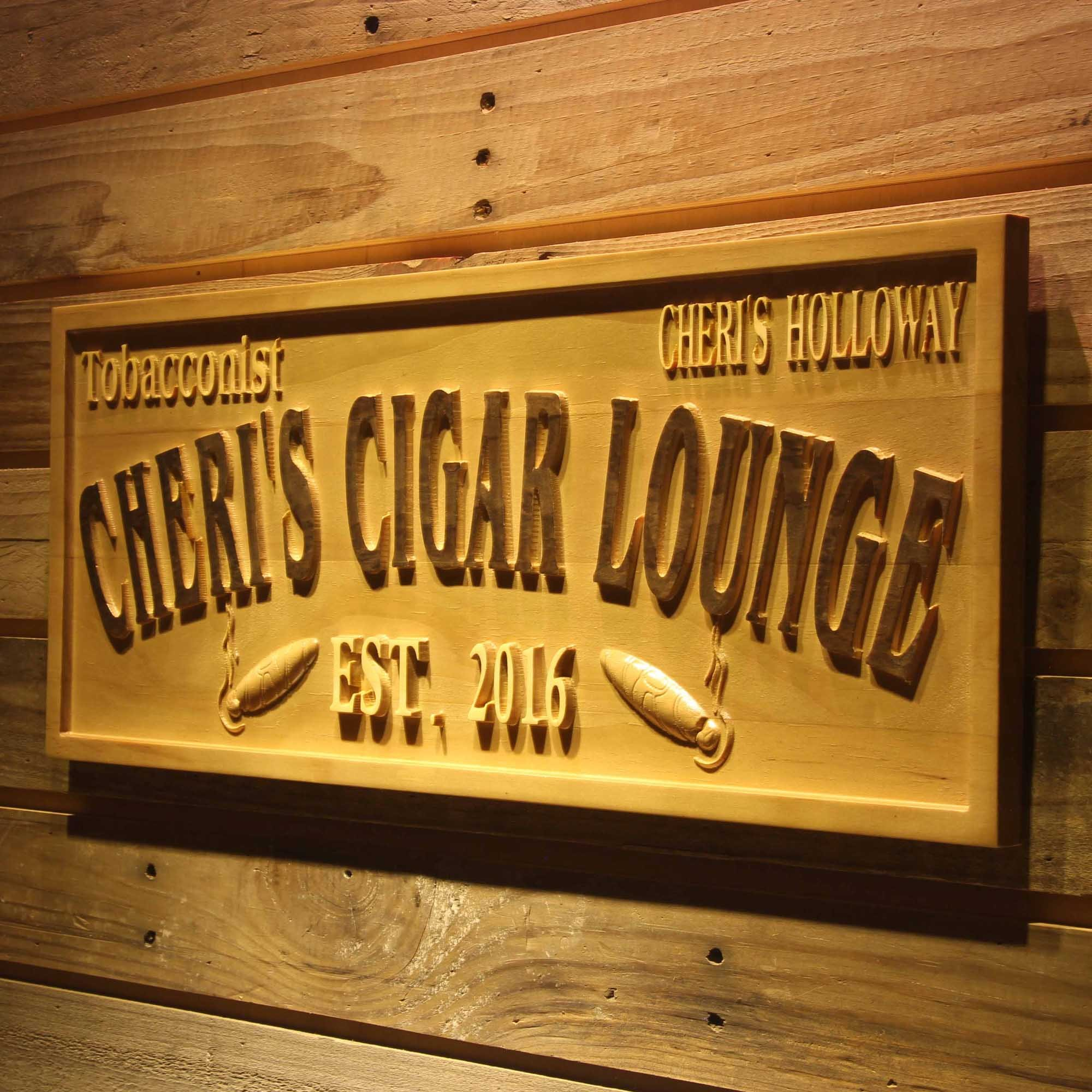 ADVPRO wpa0416 Tobacconist Name Personalized Cigar Lounge Shop Wood Engraved Wooden Sign - Standard 23'' x 9.25''