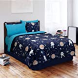 Veratex 100% Cotton 2-Piece Glow in the Dark Galaxy Invaders Bedroom Comforter Set, Twin Size, Black