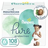 Diapers Size 6, 108 Count - Pampers Pure Protection Disposable Baby Diapers, Hypoallergenic and Unscented Protection, ONE Mon