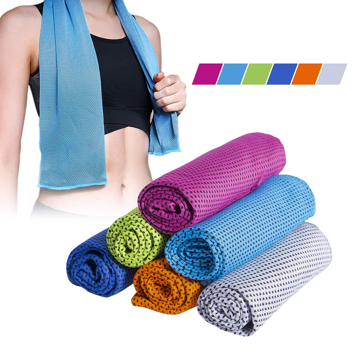 Darller 6 Pack Sport Neck Cooling Towel - Magic Gym Workout Sweat Cool Towels