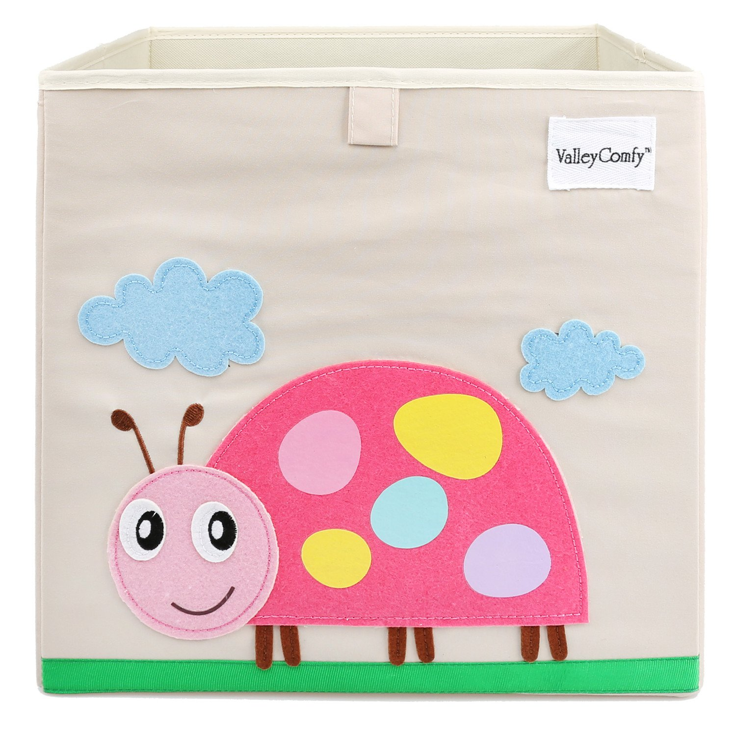 Valleycomfy Toy Box Cartoon Animals Storage Box Kids Cube Organizer Foldable Closet Basket For Clothes, Shoes, Toys And Dots 13x13x13 (Lion) SNHA02