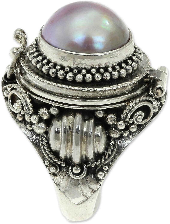NOVICA Dyed Pink Cultured Mabe Pearl .925 Sterling Silver Locket Ring, Rose Secret'