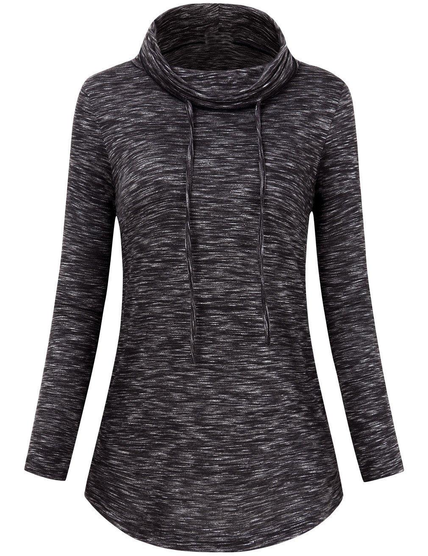 FANVOOK Funnel Neck Tops, Activewear Tops for Women Long Sleeve Sweatshirts Outdoor Active BW XL
