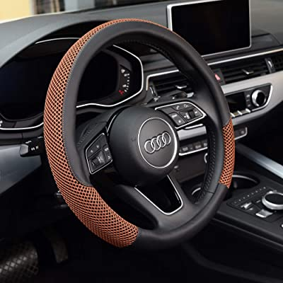 KAFEEK Steering Wheel Cover, Universal 15 inch, Microfiber Leather Viscose, Breathable, Anti-Slip,Warm in Winter and Cool in Summer, Black&Brown: Automotive