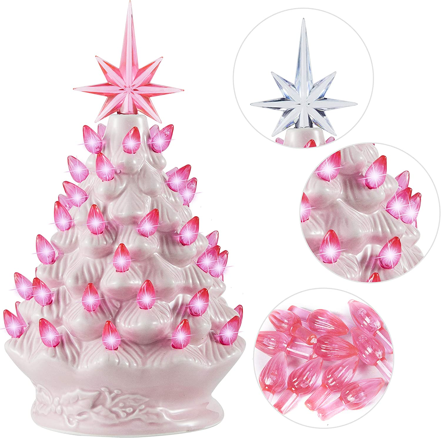 """Joiedomi 9"""" Pink Ceramic Christmas Tree, Prelit Tabletop Christmas Tree with Extra Pink Star Topper & Bulbs for Best Xmas Decoration"""