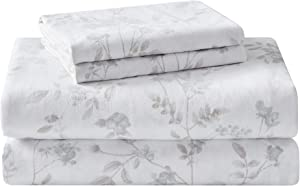 Laura Ashley Home | Flannel Collection Cotton Bedding Sheet Set, Pre-Shrunk & Brushed for Extra Softness, Comfort, and Cozy Feel, Full, Fawna Gray