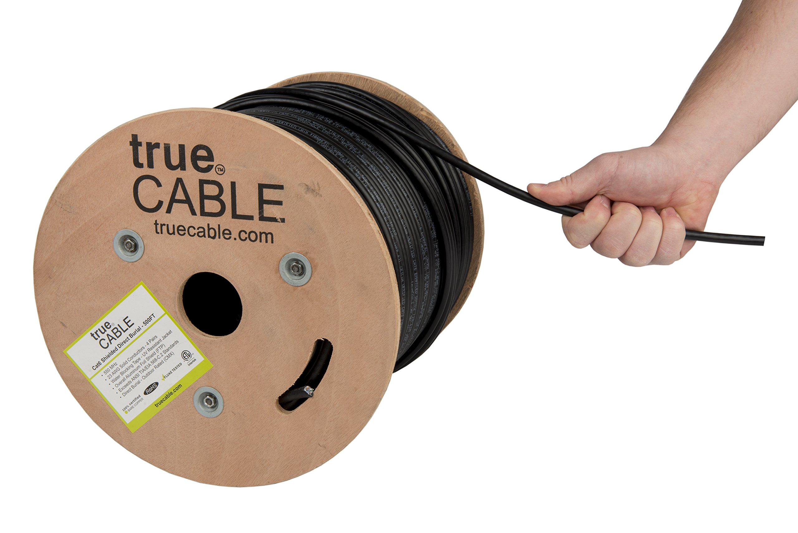 Cat6 Outdoor, Shielded - FTP, 500ft, Waterproof, Direct Burial Rated CMX, Solid Bare Copper Bulk Ethernet Cable, 550MHz, ETL Listed, Black, trueCABLE by trueCABLE