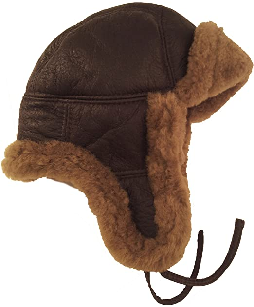 1a0a4cf32a3 Real Sheepskin Leather Aviator trapper Hat Brown Brown fur Unisex  2H (S)