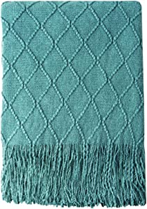 "BOURINA Textured Solid Soft Sofa Throw Couch Cover Knitted Decorative Blanket, 50"" x 60"",Dark Cyan"