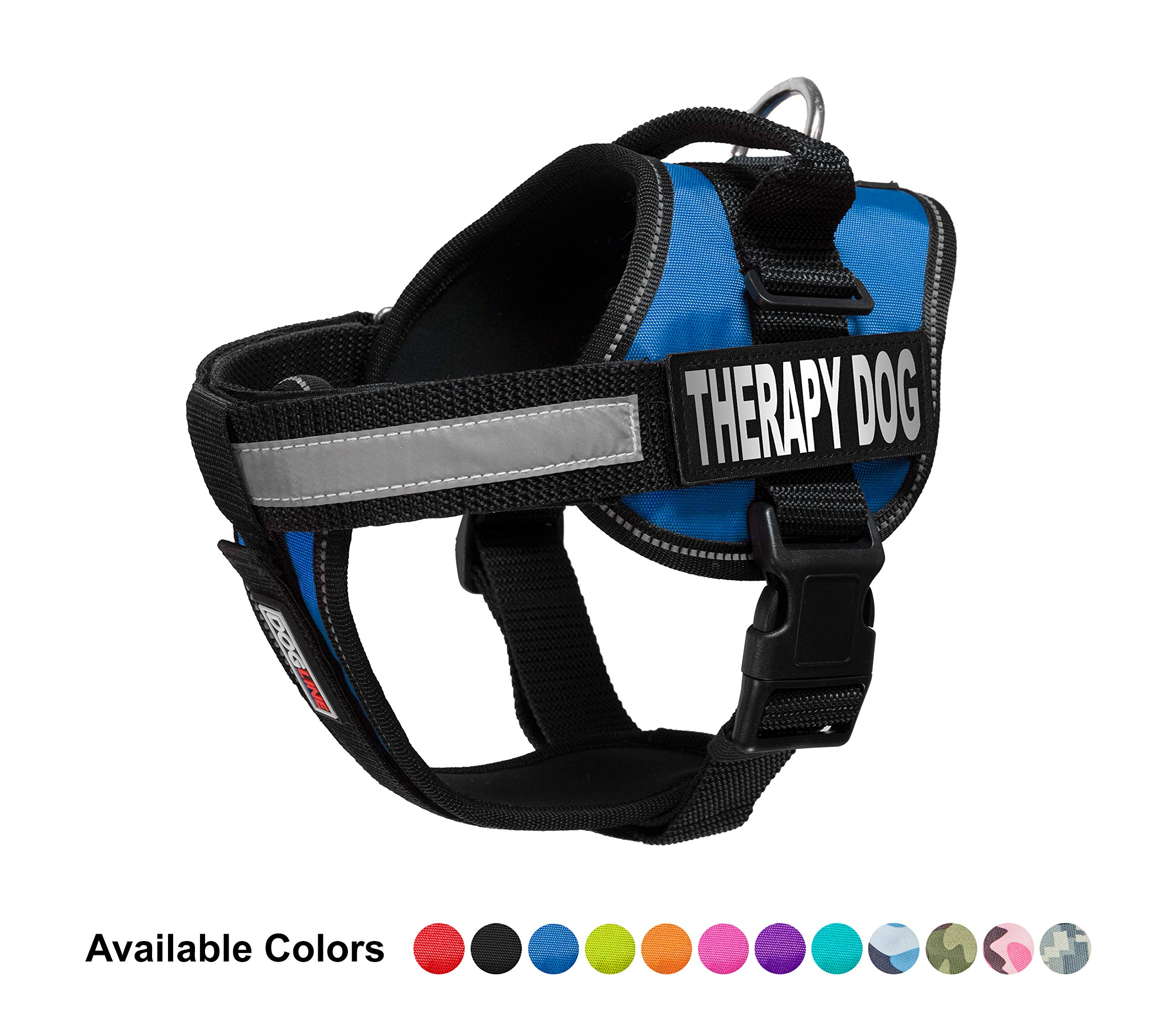 Dogline Vest Harness for Dogs and 2 Removable Therapy Dog Patches, Large/28 to 38'', Blue