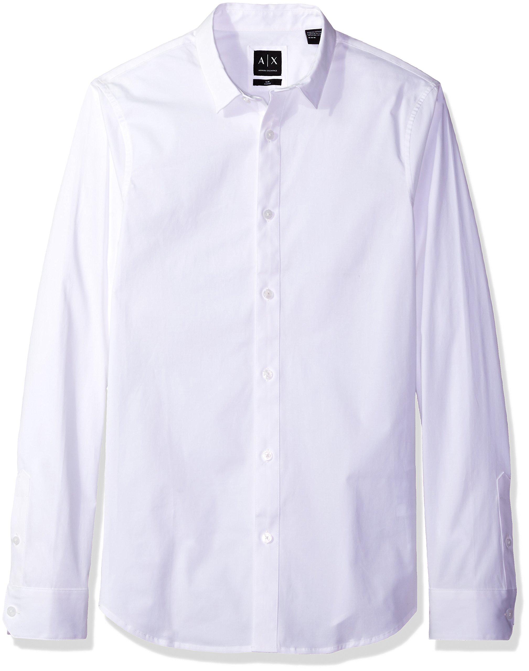 A X Armani Exchange Men's Stretch Poplin Long Sleeve Collared Woven Slim Fit, Optic White, Medium