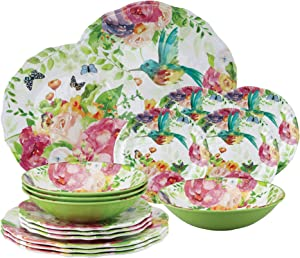 Gourmet Art 16-Piece Rose Garden Heavyweight and Durable Melamine Dinnerware Set, Service for 4. Includes Dinner Plates, Salad Plates, Dessert Plates and Bowls. for Everyday Use