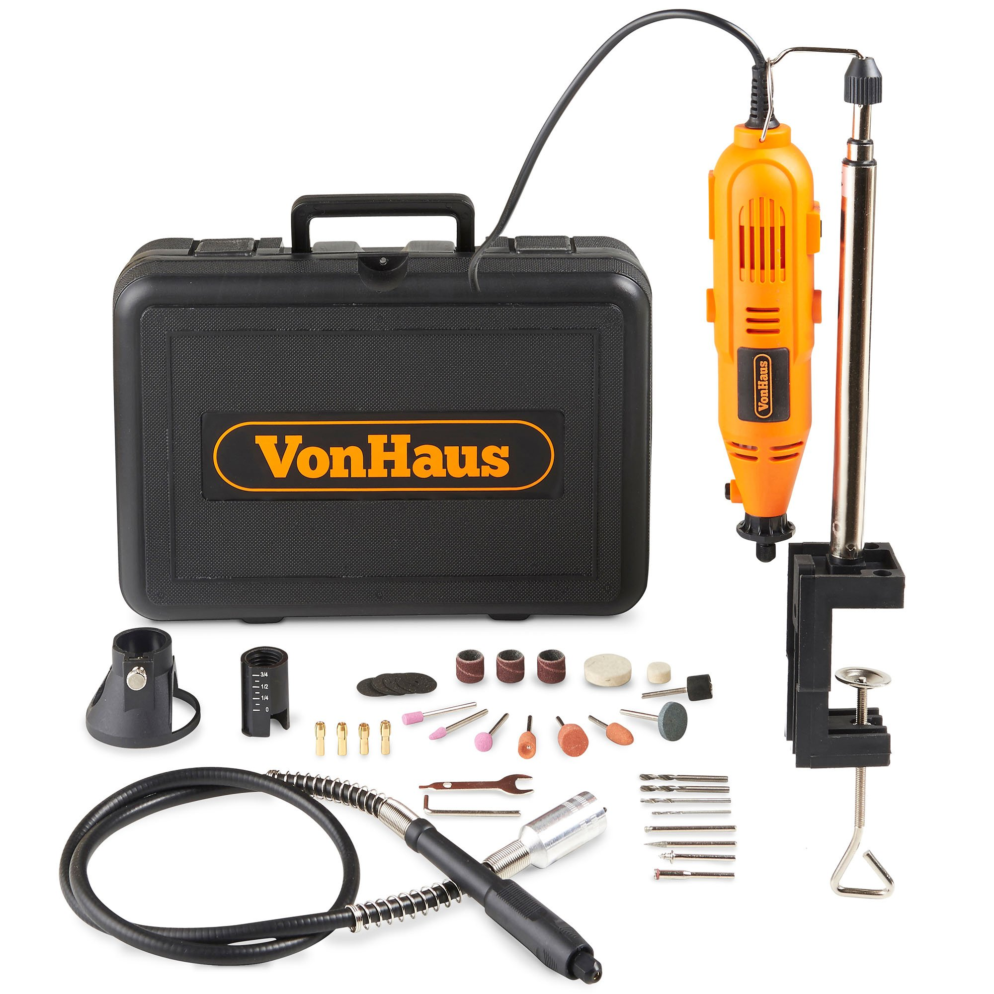 VonHaus Variable Speed Rotary Tool Kit with Stand, Storage Case and Flexi-shaft Including 34 Piece Multi-functional Accessory Tool Bits Set For Cutting, Sanding and Polishing by VonHaus