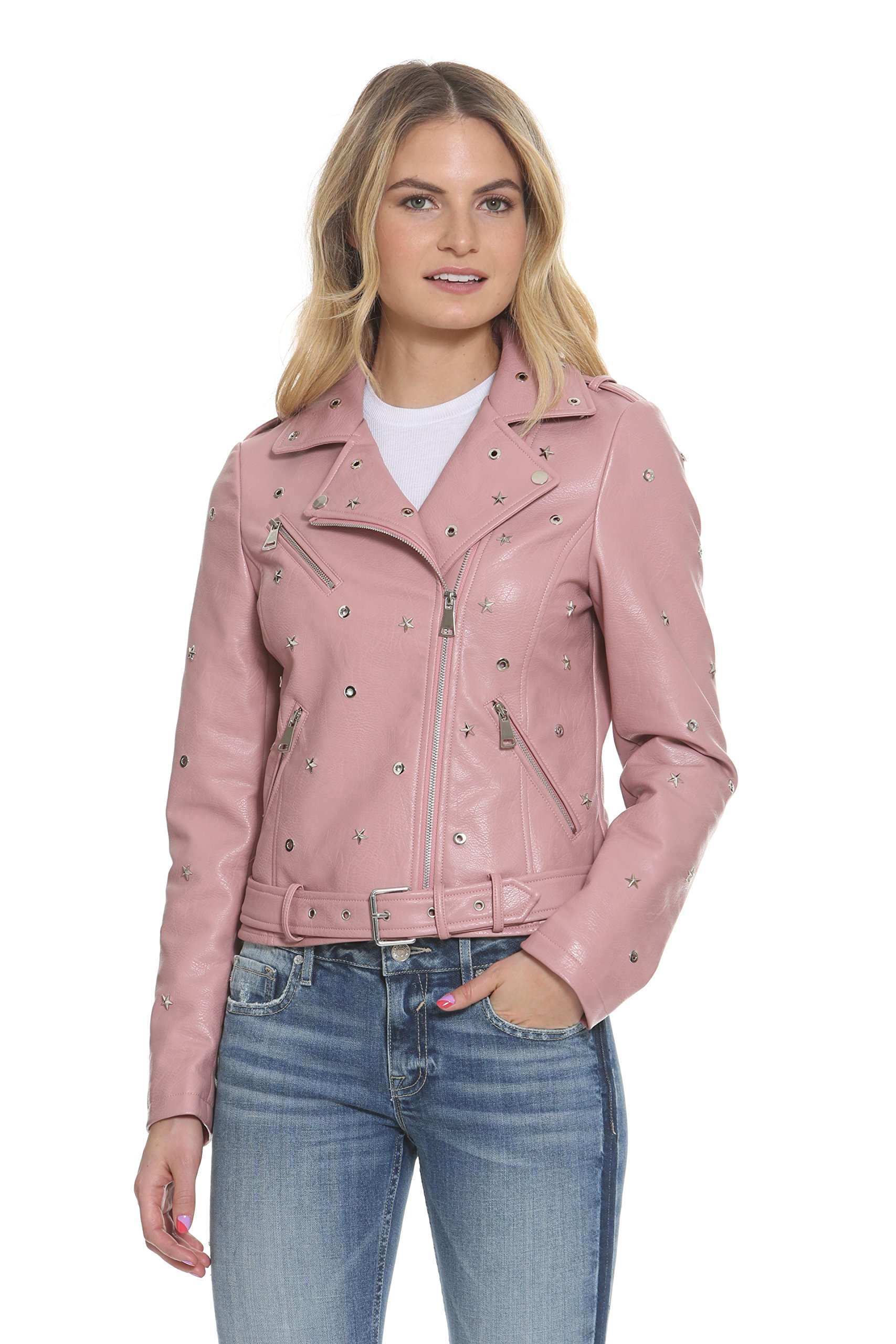 VIGOSS Women's Studded Moto Jacket, Pink, L
