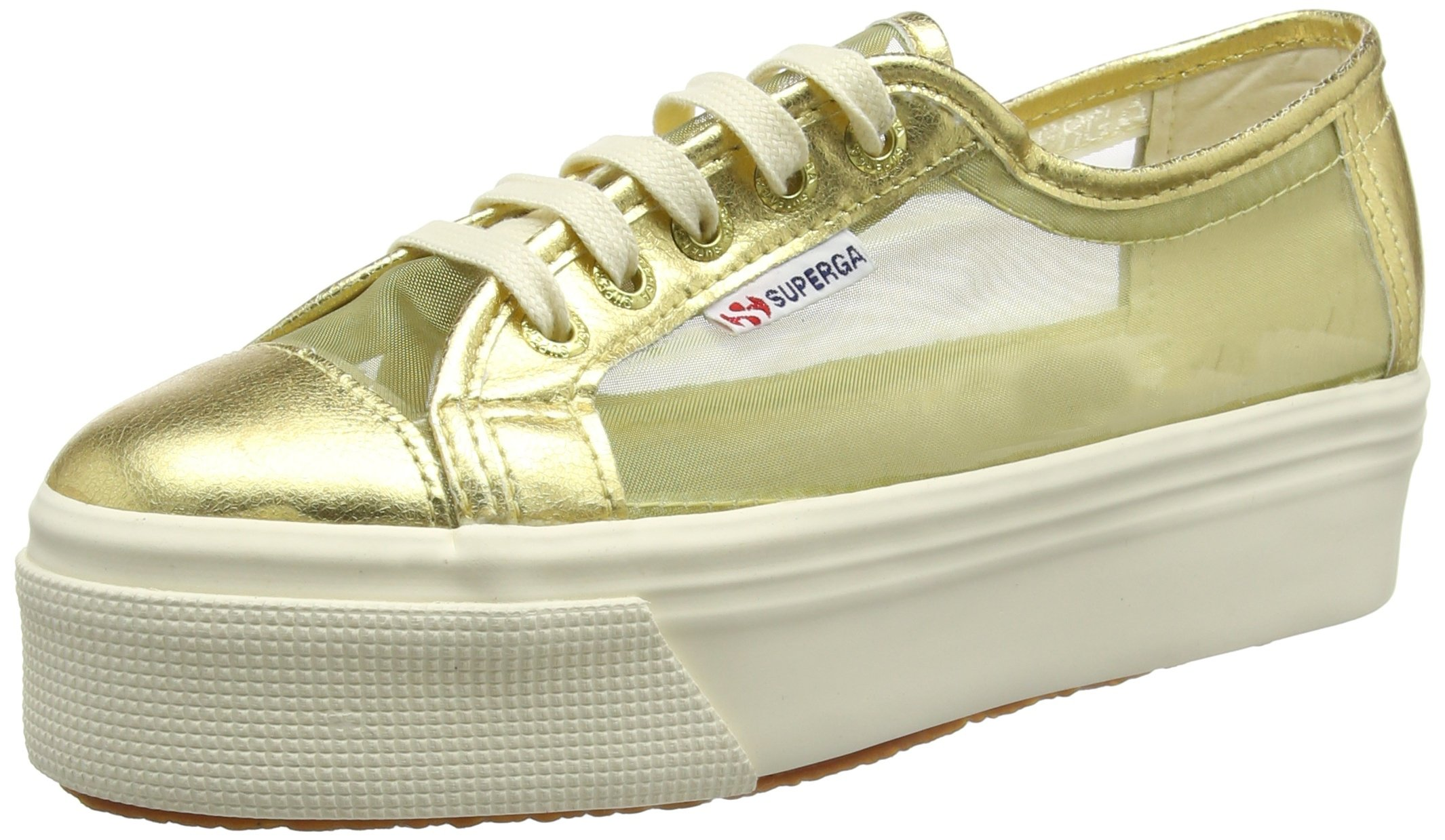SUPERGA JB0 2790-NETW 174 ORANGE GOLD WOMEN'S SHOES SNEAKERS WEDGES, WEDGE HIGH, SPRING SUMMER NEW COLLECTION 2016 TEXTILE GOLD