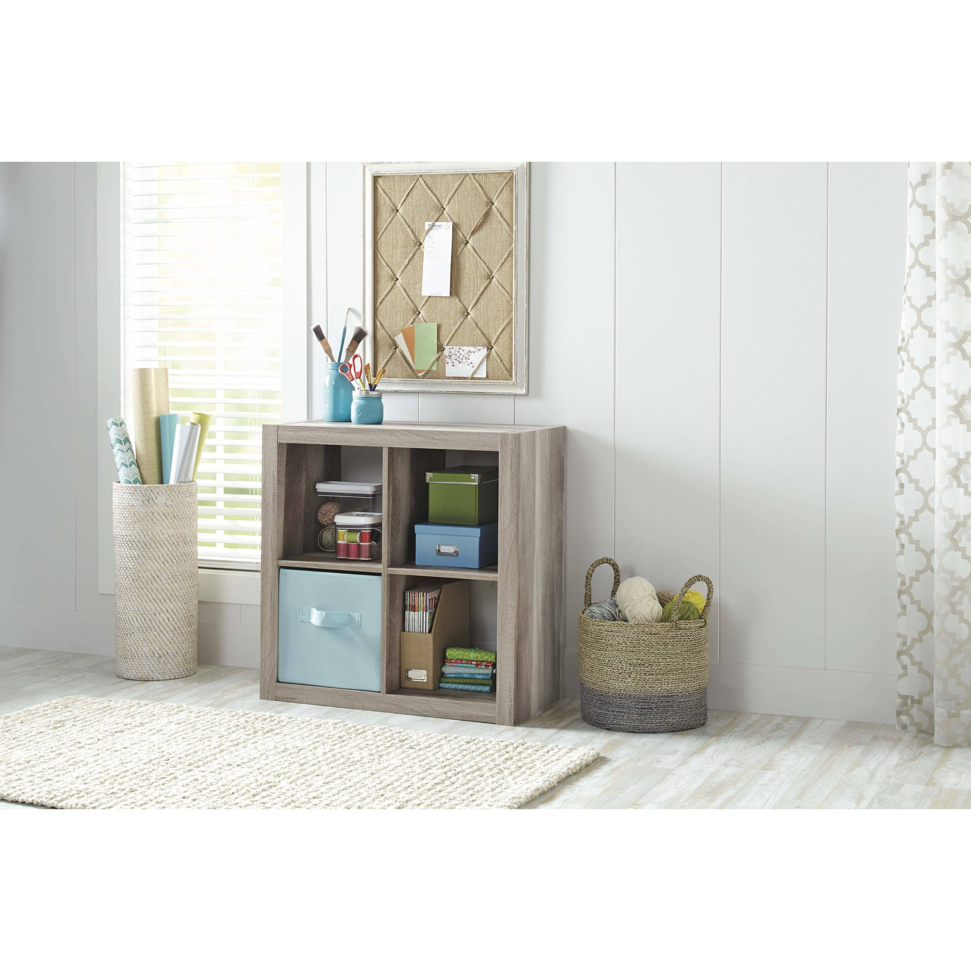 Versatile 4-Cube Storage Case for Organization and Display, Made of MDF and Laminated Particleboard, (Storage Bins and Other Extras NOT Included, Rustick Grey + Expert Home Guide by Love US