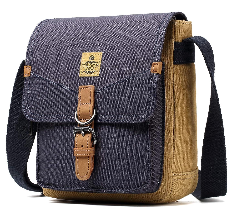 4cd32c2aa7c Amazon.com   Troop London Heritage Canvas Messenger Across Shoulder Bag  TRP0416 (NAVY CAMEL)   Messenger Bags