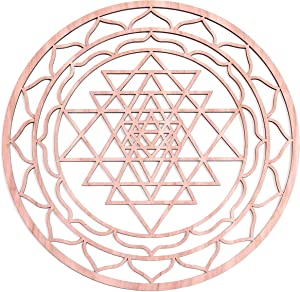 "Fourth Level Manufacturing 12"" Sri Yantra, Thick, Chakra Wooden Wall Art, Wooden Wall Art Decor, Sacred Geometry Art, Geometry Art, Tapestry, Poster"