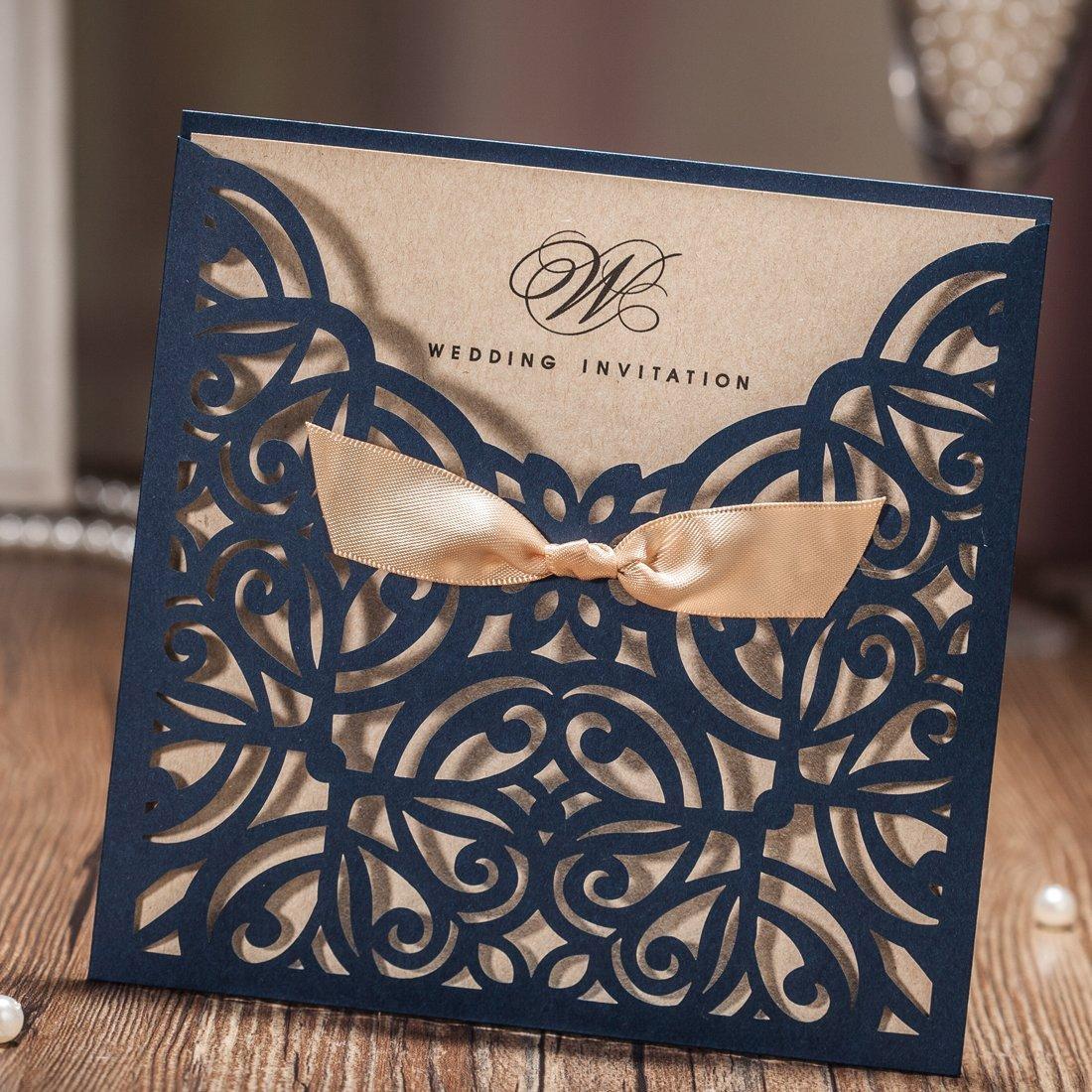 Amazon Wishmade Navy Blue Square Laser Cut Wedding Invitations