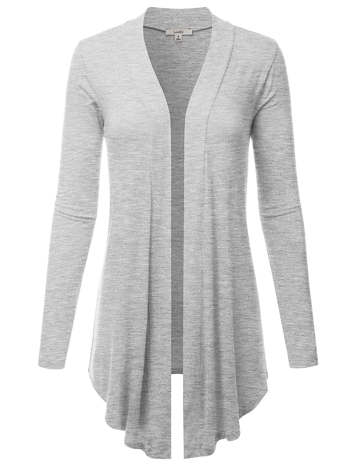 Lbt007hgrey LALABEE Women's Draped OpenFront Long Sleeve Light Weight Cardigan (S3XL)
