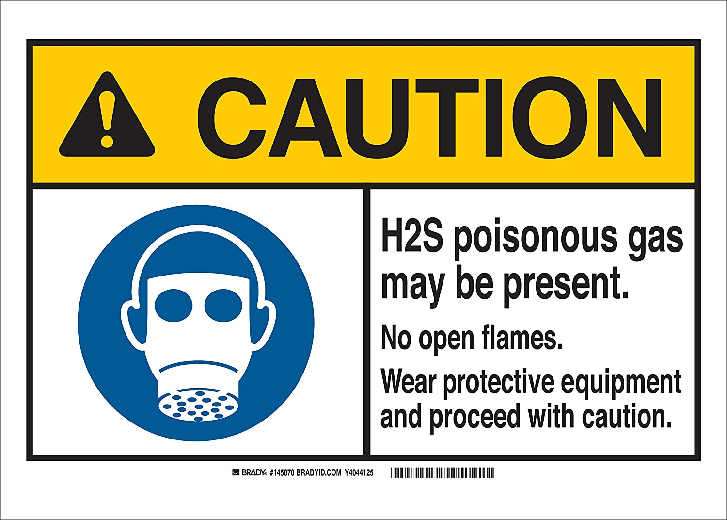 Brady 145070 AluminumCaution H2S Poisonous Gas May Be Present No Open Flames Wear Protective Equipment and Proceed with Caution Sign Black//Yellow on White 10 Height x 14 Width