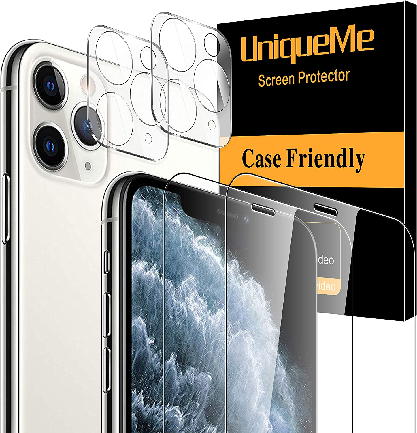 [4 Pack] UniqueMe Screen Protector for iPhone 11 Pro Max (6.5 inch), 2 Pack Tempered Glass Screen Protector and 2 Pack Camera Lens Protector 9H Hardness Clear [Bubble Free]