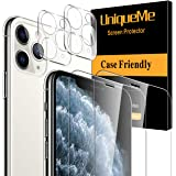 UniqueMe 2 Pack Screen Protector +2 Pack Camera Lens Protector for iPhone 11 Pro Max(6.5 inch) Tempered Glass, Case Friendly No-Bubble High Definition Clear