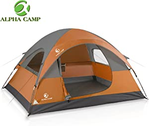 ALPHA CAMP 3 Person Camping Dome Tent with Carry Bag, Lightweight Waterproof Portable Backpacking Tent for Outdoor Camping/Hiking - 7' x 8'