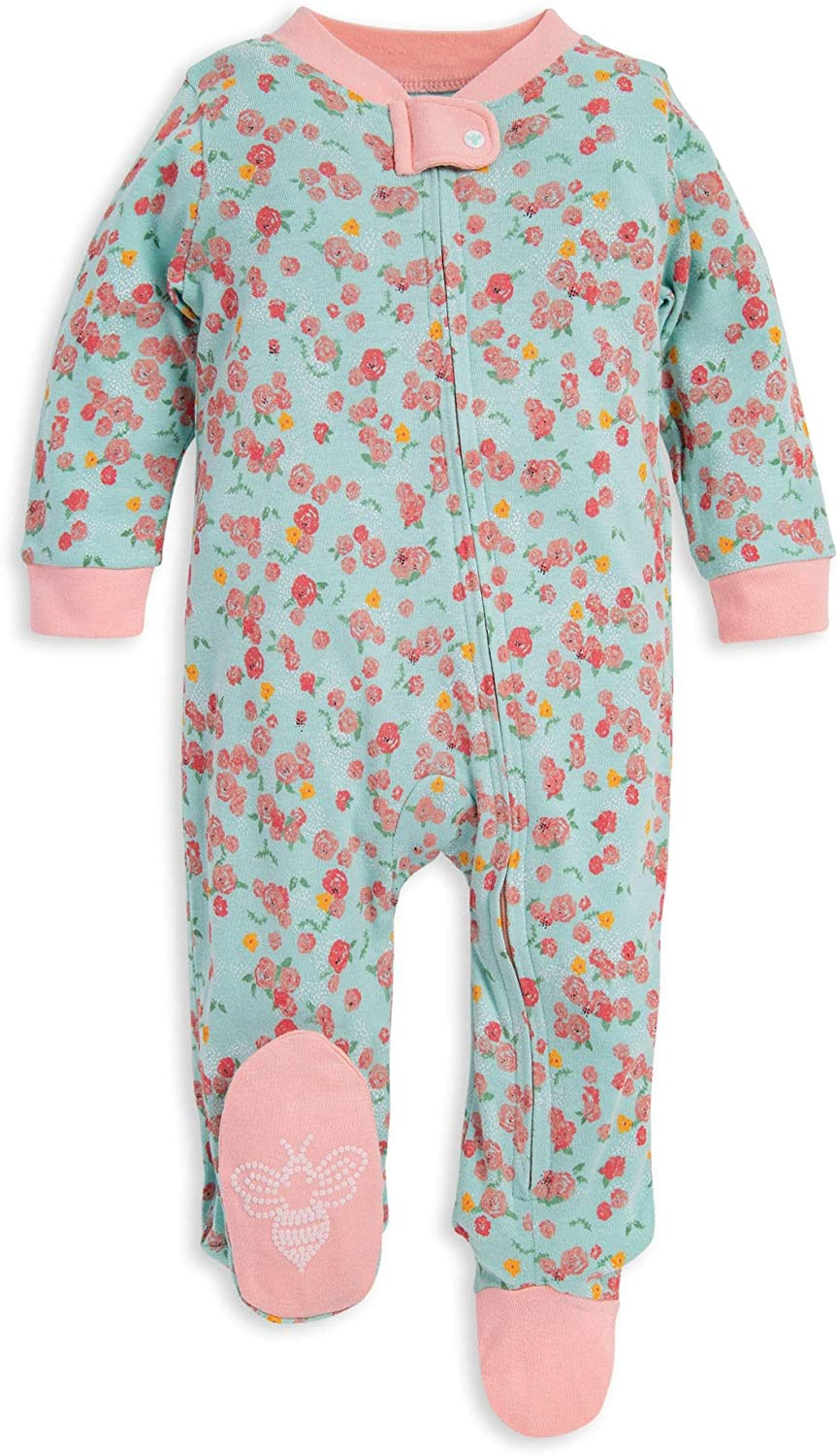 Burt's Bees Baby Unisex Baby Sleep & Play, Organic One-Piece Romper-Jumpsuit PJ, Zip Front Footed Pajama