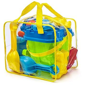 Completo conjunto de juguetes para la playa en bolsa reutilizable con cremallera, Colores surtidos
