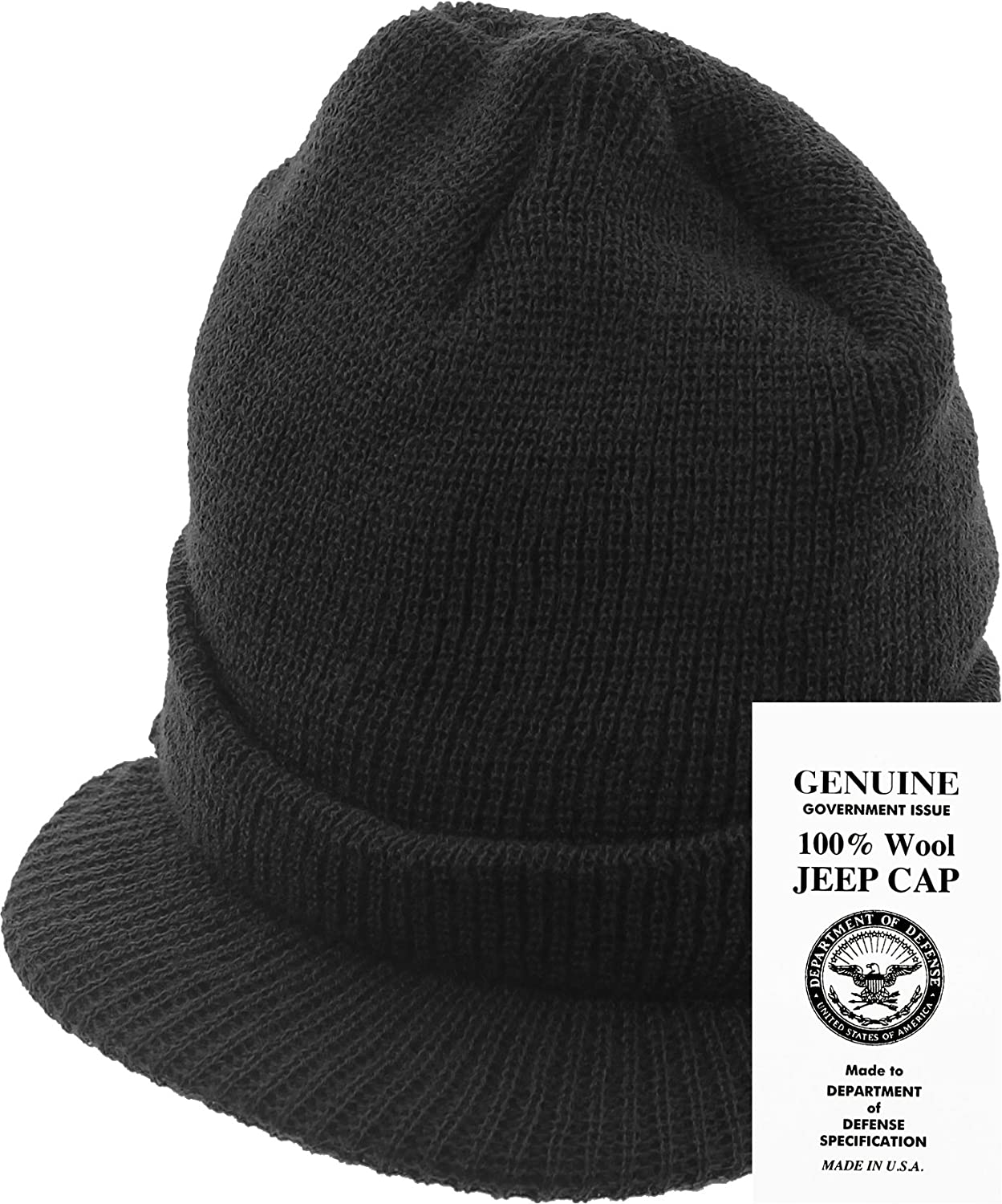 104708b430e Amazon.com  Genuine GI Official Military Wool Cold Weather Winter Knit Hat  Jeep Watch Cap (Black)  Clothing